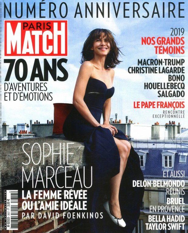 Sophie Marceau en couverture du numéro anniversaire de Paris Match